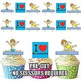 12x I Love gimnasia niños mezcla–tarjeta de oblea comestible para tartas función atril UPS
