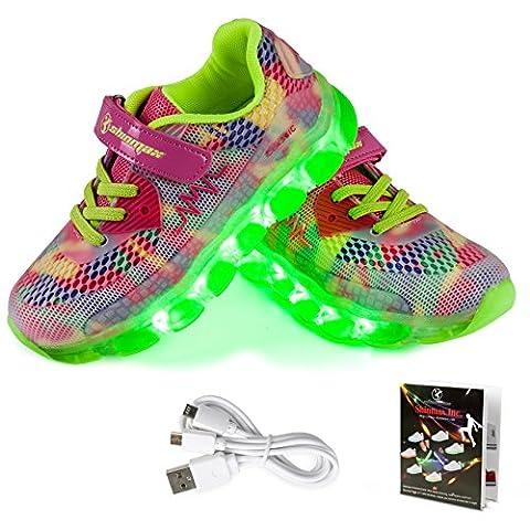 Shinmax Frühling-Sommer-Herbst-Breathable LED Schuhe 7 Farben USB Aufladbare Leuchtschuhe Kinderschuhe mit CE-Zertifikat für Halloween Weihnachten Dank Giving Day (26 EU, Rosa-)