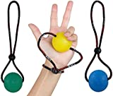 StringyBall Stress Balls on a String - Perfect For Stress Relief, Hand Exercise, Strengthening, Rehabilitation - Soft, Medium and Firm Balls with Exercise Guide - No Falling / Rolling Away
