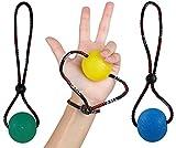 Balle anti-stress tenue par un cordon et dragonne par StringyBall, parfait pour travailler ses mains, rééducation, renforcement- moyenne et ferme, avec livret d'exercice (français non garanti), ne tombe pas, ne roule pas, 3 Ball Set