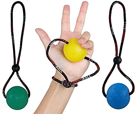 StringyBall Stress Balls on a String - Perfect For Stress Relief, Hand Exercise, Strengthening, Rehabilitation - Soft, Medium and Firm Balls with Exercise Guide - No Falling / Rolling Away (Set of 3)