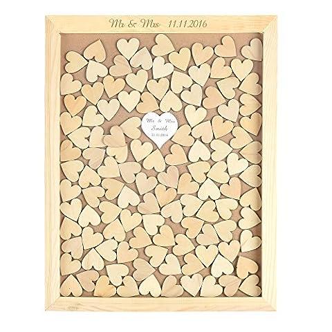 ys2016 gravée personnalisée love haut pendantes rustique en bois cadre livre d'or de mariage 1 Pièce Miroir coeur 30 x 38 Cm