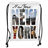 Custom Printed Drawstring Backpacks Bags,NYC Decor,New York City Themed Collage Featuring with Different Areas of the Big Apple Manhattan Scenery,Multi Soft Satin,5 Liter Capacity,Adjustable Stri