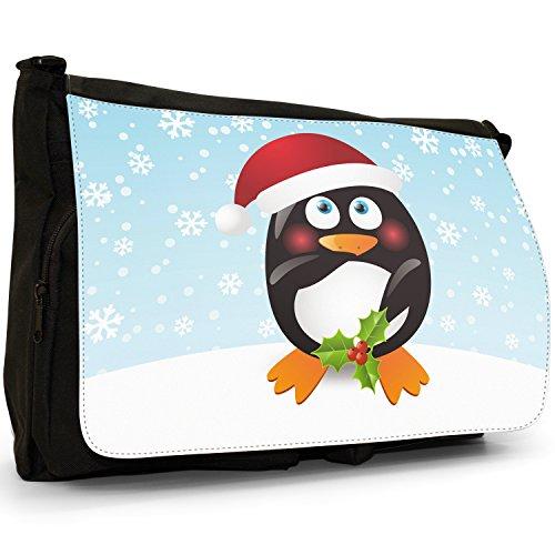 Vacanze di Natale Stagione pinguini–Borsa Tracolla Tela Nera Grande Scuola/Borsa Per Laptop Penguin Holding Holly