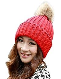 Tefamore Sombrero de las mujeres Invierno Bolso de piel de gallo caliente  Gorro de lana de b2d076240e1