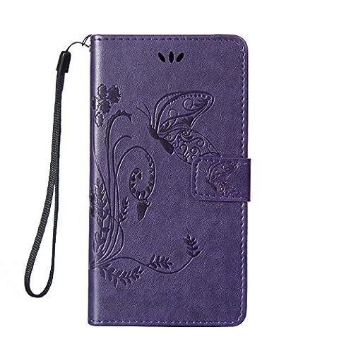 Housse Samsung Alpha G850, SpiritSun Etui en PU Cuir Portefeuille Coque pour Samsung Galaxy Alpha G850 Fleur et Papillon Modèle Case avec Fonction Support Stand (Violet)