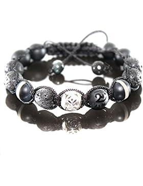 Herren Black/Withe Onyx Mix Shamballa Armband Armreifen Spacer Silber Beads für Männer verstellbar