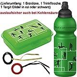 Fizzii Trinkflasche und Brotdose Fußball, 3-teilig auslaufsicher Bei Kohlensäure