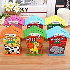 LOGGAS Wood House Animal Designs Piggy Bank (Multicolour) - Set of 6