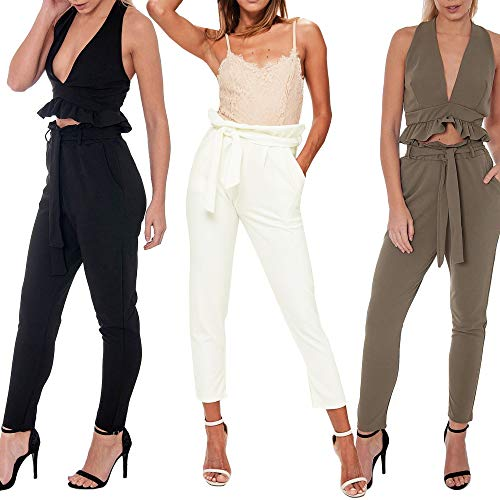 Re Tech UK Womens High Waisted Belted Paper Bag Trousers Pants Elasticated Slim Fit Pockets Cigarette Tapered Work Casual Sizes 6-26 Plus Size Made in UK