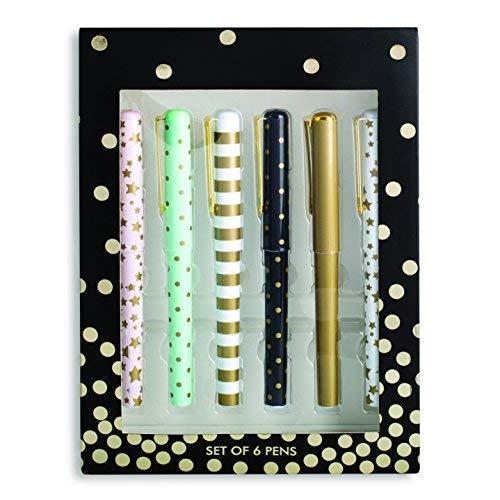 Tri-Coastal Design - Set di 6 Penne a Sfera ad Inchiostro Nero - Decorate con Stampe con Accenti Dorati in Metallo - Confezione Regalo con una Scatola Decorata (metallics)