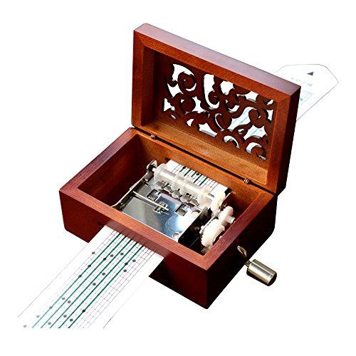 Vintage Holz geschnitzt Mechanismus Spieluhr Handkurbel Music Box Geschenk 15 Note