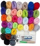 SuperHandwerk Laine de Tricotage Kit de Feutrage Tricot Aiguilles à Feutre Coussin Pelotes de Laine + Outil à Feutre de Laine (36 couleurs+27 outils)