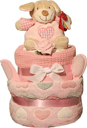 Preisvergleich Produktbild Babywindel Kuchen rosa Herzen/blau Kreise Design Geburts Geschenk/Geschenk 2 Ebenen Geschenkverpackung & Tag - Rosa