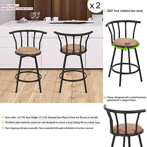 Innovareds barstools Redondo Asiento sillas de Bar Taburete de Bar Giratorio de Estilo Industrial Fundido Chic Bar Caqui Marrón, 24'/61 cm