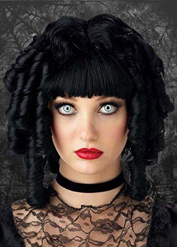 Womens Gothic schwarz lockig Ghost Puppe (Ghost Kostüme Perücke)
