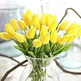 10 tulipani finti, fiori artificiali in lattice, realistici al tatto, per bouquet per matrimoni, casa, giardino, decorazione, Yellow, Taglia libera