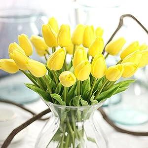 Ramo de flores artificiales, ramo de tulipanes de flores artificiales de tacto real, decoración del hogar (blanco), rojo…
