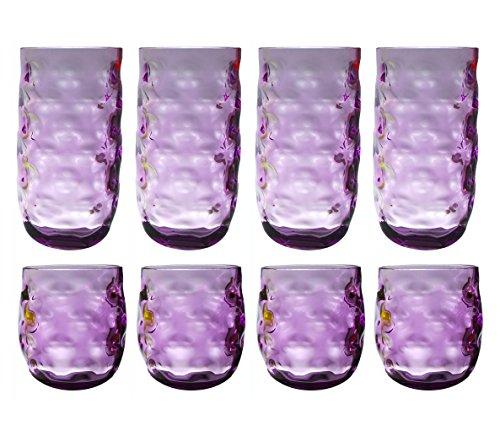 QG Colorful klar Acryl Kunststoff 14und 23Oz Trinkbecher Glas Trinkglas-Set von 8Violett (8 Acryl-gläser Unzen)