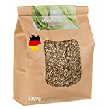 Hanfsamen ungeschält aus Deutschland 1000g. - Speisehanf-Samen - Hanfnüsse - Vegan, Low Carb, Rohkost, Glutenfrei - Ungeschälte Hanfsamen