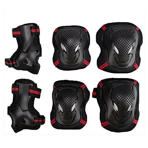 Juego de protecciones,EONPOW Protecciones contra caídas para patinaje en línea, para muñeca, Codo, rodilleras, Protector para deportes, Ciclismo, patinaje, 6 unidades