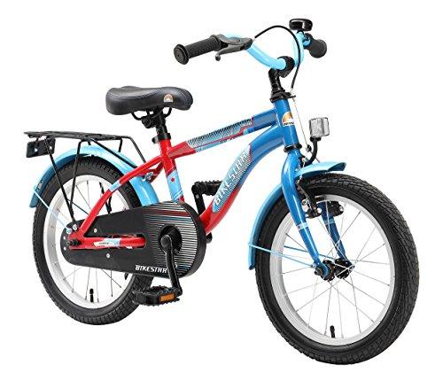 BIKESTAR Premium Sicherheits Kinderfahrrad 16 Zoll für Jungen und Mädchen ab 4 - 5 Jahre ★ 16er Kinderrad Modern ★ Fahrrad für Kinder Blau & Rot (16 Zoll Fahrräder)