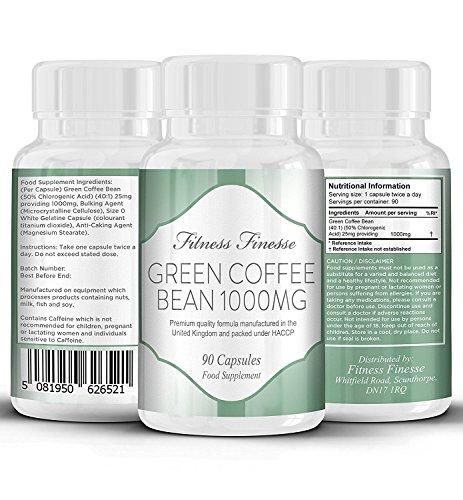 Grüne Kaffeebohne 1000 mg zum Abnehmen, 90 Kapseln