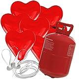 30 Herz Luftballons freie Farbwahl mit Helium Ballon Gas Hochzeit Valentinstag Komplettset (Rot)