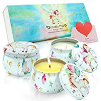 LA BELLEFÉE Scented Candles Vegan candles with Fantasy, Miracle, Charm Aromatherapy Gift Set Natural Soy Wax Candle Including A Greeting card, Unicorn Decal