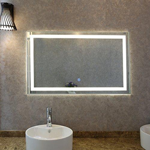 Tonffi® Badspiegel LED Spiegelleuchte 100x60CM Weiß 35W Touch-Schalter IP44 Wand Spiegel mit Beleuchtung 4000K (Typ2, 100 x 60 CM (2))