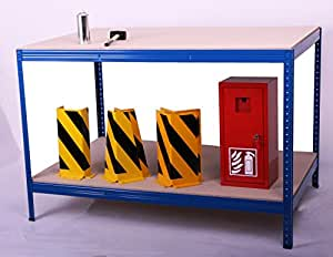 Plan de travail h x l x p :  100 x 240 x 120 cm, 2 étages 300 kG/fond en bois, bleu (packtisch, verpackungstisch montagetisch), établi