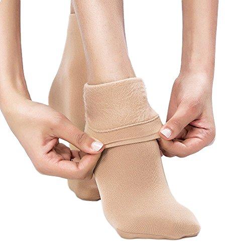 Diamond Doll Women's Fleece Lined Beige Ankle High Tights Hosiery Socks (Two Pair)