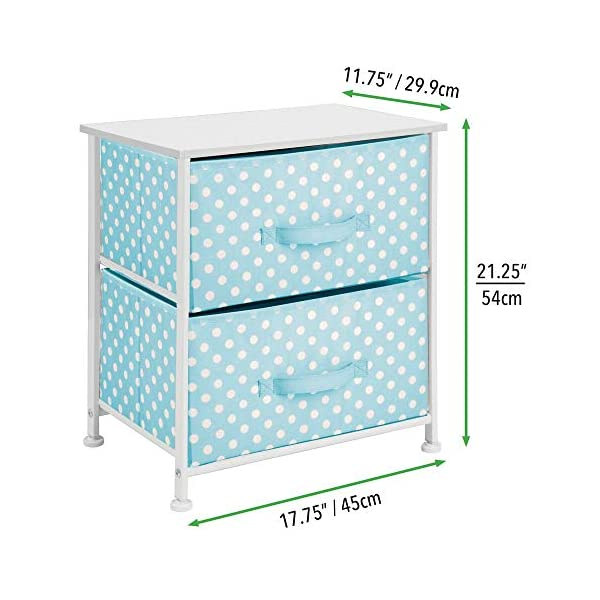 mDesign Chest of Drawers - Children's Bedroom Storage System with 2 Drawers and Flat Top - Nursery Storage Unit with Polka Dot Design - Turquoise/White mDesign SWEET STORAGE: This 2-drawer side table is a must-have accent to complement any child's room. The bright turquoise fabric is adorned with a sweet white polka dot pattern. STORE ANYTHING: The bedroom drawers are a versatile unit and can be filled with anything. Use to store toys, accessories, clothes, books, nappies and more. VERSATILE UNIT: Although the unit works best as bedroom storage, its uses do not stop there. Place in play rooms, nurseries and other child-specific areas of the home. 4