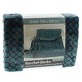 Gözze Wohn- und Kuscheldecke, 150 x 200 cm, Memphis Premium, Dessin Santos, Petrol, 88771-54-150200