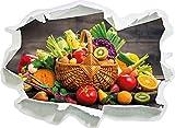 Frisches Obst und Gemüse im Korb, Papier 3D-Wandsticker Format: 62x45 cm Wanddekoration 3D-Wandaufkleber Wandtattoo