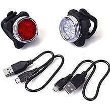 Unigeer LED Luz Delantera y Trasera Bicicleta Lámpara Impermeable Clip/Correa Silicona 2 cable USB frontal posterior recargable 4 modo 650mAh Reflector Bici Seguridad faro de señal