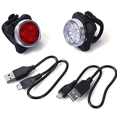 Wiederaufladbare LED Fahrradlampen inkl. LED Frontlicht und Rücklicht für Fahrrad und Kinderwagen, 4 Licht-Modi 2 USB-Kabel zum Aufladen