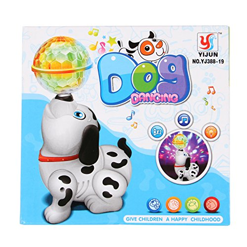 TOYVALA Cute Dancing Dog Toy with Reflected 3D Lights & Wonderful Music for Kids, Battery operated, Multicolor
