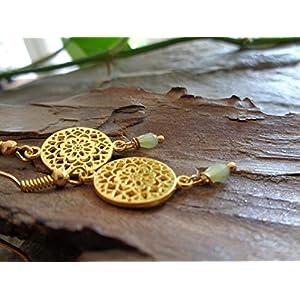 ✿ GOLD MANDALA OHRRINGE & LINDGRÜNER KRISTALL TROPFEN ✿ einmalige Ohrringe
