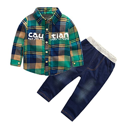 Kinder Jungen Mädchen Winter Hemden Cord Corduroy Langarm Pullover Sweatshirt T-Shirt Top + Jeans Lange Hosen Yanhoo Unisex Baby 2 Stück Bekleidungsset Grüne Cord Jumper