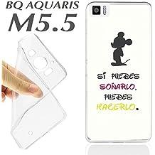 FUNDA CARCASA + PROTECTOR DE CRISTAL (OPCIONAL) BQ AQUARIS M5.5 M 5.5 FRASE SI PUEDES SOÑARÑO PUEDES HACERLO K7 - SOLO CARCASA