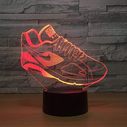 Tianyifengg 3D-LED-7 Color-Control Remoto-Noche luz-Zapato construcción Molde lámpara de Mesa atmósfera Visual iluminación decoración móvil Ventilador Regalo