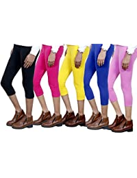 IndiWeaves Girls Stylish attractive color Cotton 3/4 th Pant/Capri(Pack of 5)