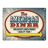 Metallschild mit Classic American Diner Motiv Aluminiumschild Blechschild Werbeschild Türschild Warnschild American Diner Diner Restaurant Schild Essen retro USA Werbeschild Blechschild Schild