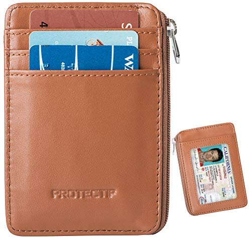 Protectif Herren RFID-Blocking sichere Mini geldbörse & RFID-hülsen-echtes Leder-Vordertasche geldbörse Small Bernstein - Bernstein-leder-geldbörse