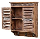 amadeco Aussergewöhnlicher Hängeschrank Küchenschrank im Landhaus Stil - 2 Türen - 2 Innenfächer - 3 Haken - Braun - Holz
