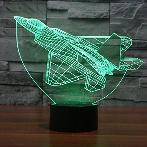 Lampe 3D ILLUSION Lichter der Nacht, kingcoo 7Farben LED Acryl Licht 3D Creative Berührungsschalter Stereo Visual Atmosphäre Schreibtischlampe Tisch-, Geschenk für Weihnachten, Kunststoff, Avion 0.50 wattsW - 2