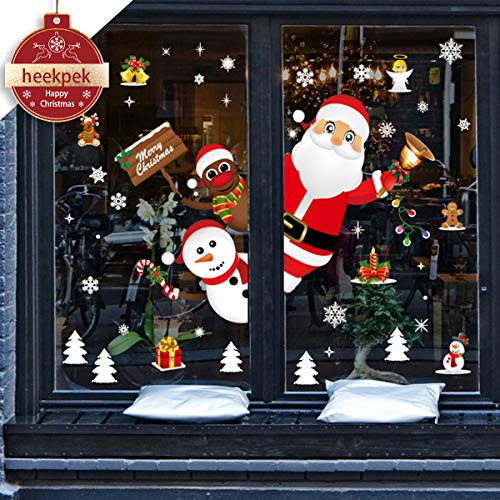Heekpek natale vetrofanie display rimovibile adesivi murali fai da te finestra decorazione vetrina wallpaper fiocco di neve diy stickers da vetro finestra vetrina decorazione natalizia casa fai da te
