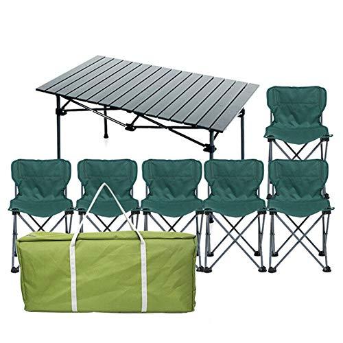 MSF Klapptisch Outdoor Klapptisch Und Stuhl Set Wild Tragbare Grill 3-7 Stück Set Haushalt Aluminium Tisch Und Stuhl Kombination (Farbe : B -1 Long Table+6 Chairs)
