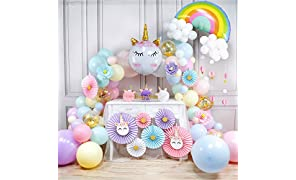 PartyWoo Unicorn Balloon Garland Kit, 179 pcs Unicorn Paper Fans, Unicorn Foil Balloon, Rainbow Foil Balloon, Unicorn Pom Poms, Cloud Banner, Jumbo Pastel Balloons, Unicorn Balloons for Unicorn Party